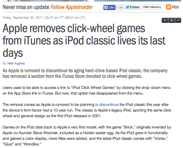Appleinsider article about Apple Clik-wheel apps.