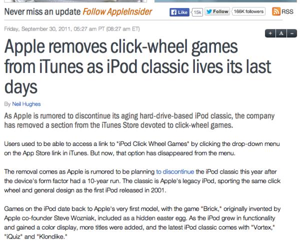 Appleinsider article about Apple Clik-wheel apps.