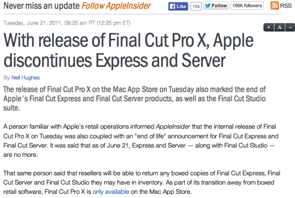 Apple insider article about final cut studio