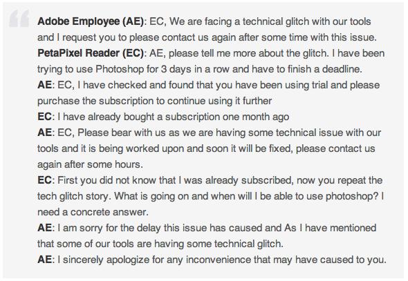 Adobe CC glitch chat exchange