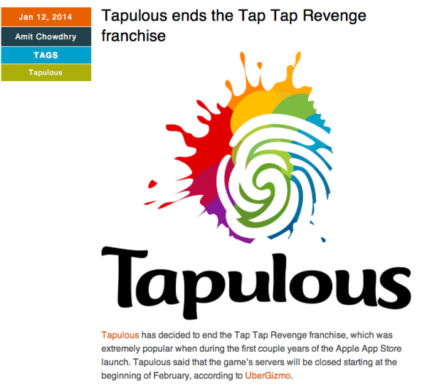 A pulse 2.0 article about tapulous closing shop.