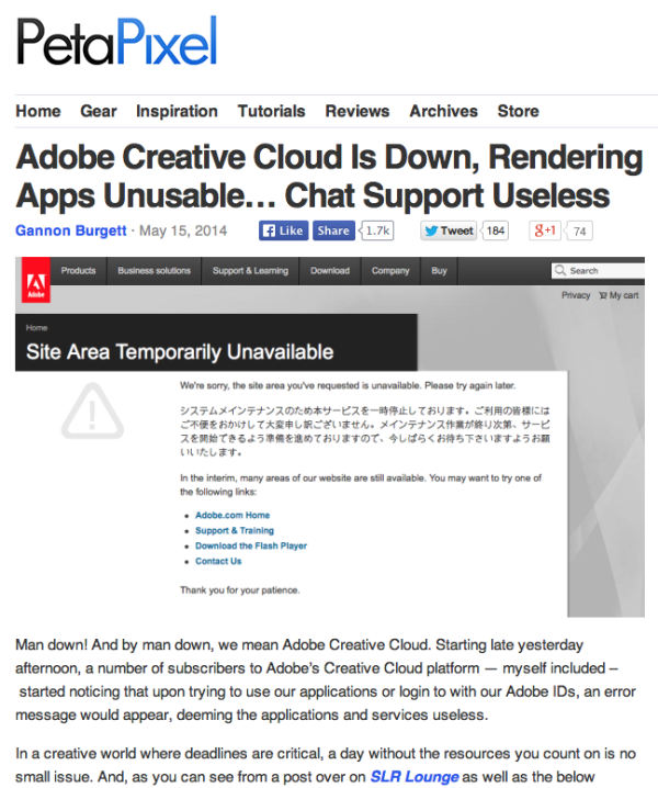 screen grab of a PetaPixel article of Adobe's Creative Cloud servers going down.