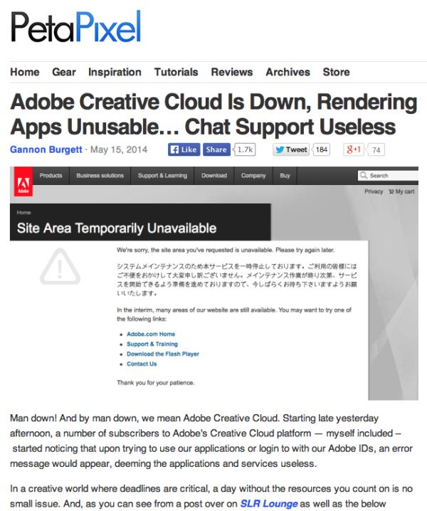 screen grab of a PetaPixel article of Adobe's Creative Cloud servers going down.